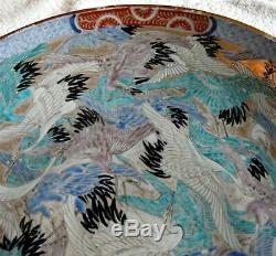 Fine Large 18 late 18th C Arita, Japanese porcelain Charger Plate Cranes