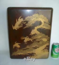 Fine Large Antique Japanese Black & Gold Lacquer Bunko Document Box Meiji