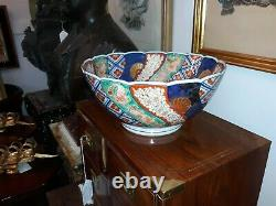 Fine Large Antique Japanese Imari Porcelain Bowl with Unusual Mark