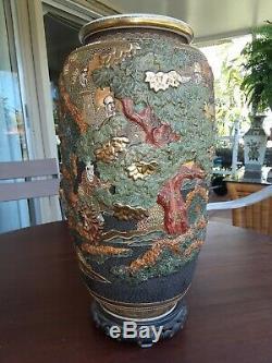 Fine Large Antique Japanese Raised Moriage Signed Satsuma Vase With Wood Base