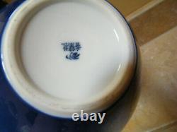 Fine Large Cranes VASE Fukagawa Koransha Japanese Cobalt Porcelain Art Deco Vtg