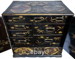 Fine Large Japanese Gilt Lacquered Table Cabinet With Auspicious Creatures Meiji