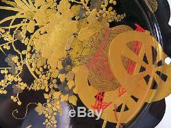 Fine Large Japanese Gold Maki-e Nashiji Black Lacquer Pedestal Vase Stand