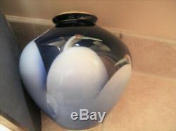 Fine Large Vintage Fukagawa Style Japanese Cobalt Porcelain Vase Art Deco Cranes