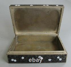 Fine Meiji Era JAPANESE Black Cloisonné Box with Night Scene c. 1920 antique