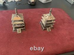 Fine Old Chinese Japanese Sterling Silver Pagoda Salt Pepper Shakers Set