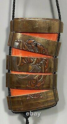 Fine Old Japan Japanese Lacquer 5 Section Inro with Buddhist Figure ca. 19-20th c