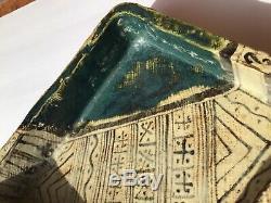 Fine Old Japanese Green Oribe Rectangular Serving Dish Tray Signed Inside Circle