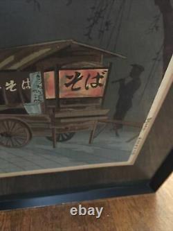 Fine Old Japanese Woodblock Print Soba Cart Vendor Tokuriki, Tomikichiro Framed