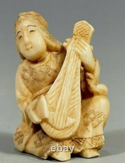 Fine Old Lot of 2 Japan Japanese Okimono Carvings of Musicians ca. 19-20th c