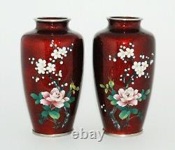 Fine PAIR of Japanese Translucent Cloisonne Vases by the Sato Workshop