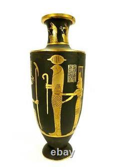 Fine Pair Japanese Komai Vases Egyptian Motif ISIS ANUBIS and other Deities