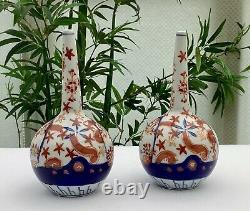 Fine Pair Of Japanese Meiji Period Hand Painted Imari Bottle Vases C1880