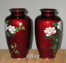 Fine Pair Vintage Japanese Akasuke Cloisonne Enamel Vases with Roses Signed Sato