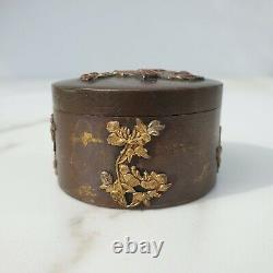 Fine Quality Antique Japanese Meiji 1868-1921 Bronze Mixed Metal Scholars Box