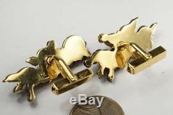 Fine Quality Antique Japanese Shakudo Horse Menuki 18k Gold Cufflinks
