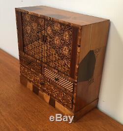 Fine Quality Antique Japanese Yosegi Zaiku Marquetry Jewellery Box Tambour Doors