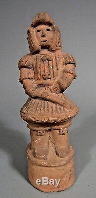 Fine RARE Japan Japanese Buff Pottery Haniwa figure of Man Wearing Padded Armor