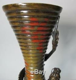Fine & Rare ART NOUVEAU JAPANESE Meiji Bronze Vase with Raised Dragons c. 1890