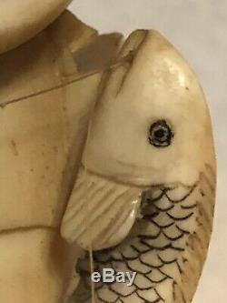 Fine Vintage Japanese Okimono Of Fisherman And Son Hand Carved Artist Signed