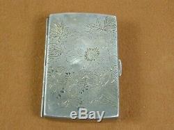 Fine Vintage Japanese Signed Sterling Silver Cigarette Case Flowers