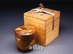 Fine Vintage Makie Lacquered NATSUME Japanese Wooden Tea Caddy w Signed Box E475