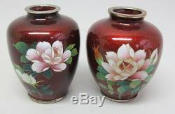 Fine Vintage Pair of Wireless Red & Floral Cloisonne Vases c. 1950s Japanese