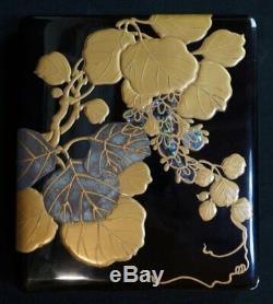 Fine antique lacquered Japanese Suzuribako Zen writing box 1900 Maki-e art