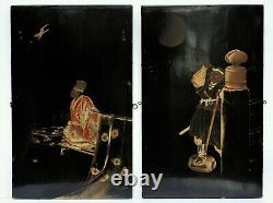 Fine, decorative pair of Japanese lacquer wall panels, Early 20th Century