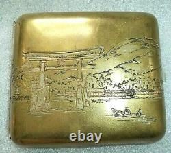 Fine old Japanese sterling silver cigarette case Shinto Tori shrine engraving