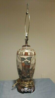 Finely Decorated Antique Japanese Meiji Satsuma Pottery Vase Lamp Very Detailed