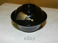 Gorgeous Fine Japanese Lacquer Bowl/ Soup And Rice Turtle Motif High Quality#1