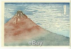 HOKUSAI Japanese OBAN WATANABE Woodblock Print -Fine Wind Clear Morning RED FUJI