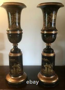 Huge PAIR of ANTIQUE JAPANESE CHINOISERIE URNS Highly Decorative FINE QUALITY