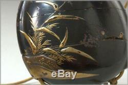 INR17 FINE Japanese Antique wooden Inro black lacquer egret Gold makie ojime