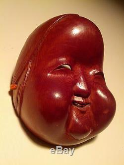 Ichii-itto-bori, Fine, Japanese Decorative Netsuke Mask (Mennetsuke) Okame