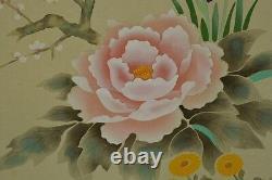 JAPANESE PAINTING HANGING SCROLL Peony Flower Picture Japan Fine VINTAGE Art u71