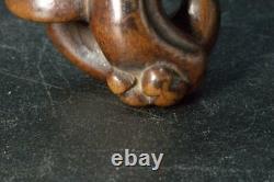Japanese Antique boxwood Netsuke Shimeji Mushrooms Wooden FINE NW190