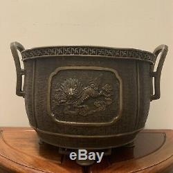 Japanese Bronze Vessel Qilin Phoenix Pattern Fine Copper Fire Bowl Murata Seimin