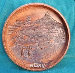 Japanese / Chinese Very Finely Carved Wood Center Piece / Tray MAGNIFICENT