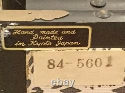 Japanese Fine Antique Green & Gold BIRD & FLOWERS Handpainted Screen panels