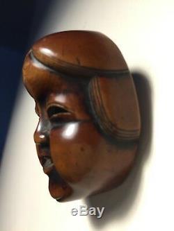 Japanese Netsuke Okame Mask Mennetsuke! Former Museum of Fine Arts Boston Piece