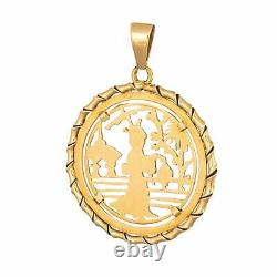 Japanese Pendant Vintage 18k Yellow Gold Round Charm Lantern Temple Jewelry