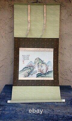 Japanese Scroll Painting Antique Fine Art Watercolor Washi Rice Paper, Silk Matt