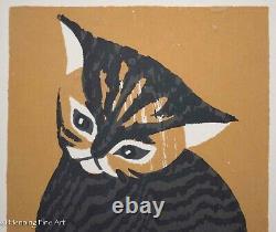 Kaoru Kawano Woodblock Kitten Vintage Mid Century Japanese Print, Framed & FINE