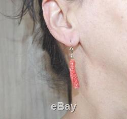 Kwan Yin Antique Red Momo Coral Carved Japanese Large Lever Back Earrings