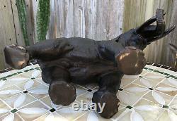Large 1800s Signed Antique Finely Cast Japanese Meiji Bronze Elephant Sculpture