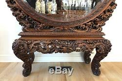 Large Antique Early 20th c. Finely Carved JAPANESE HINOKI WOOD Display Cabinet