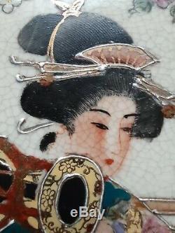 Large Fine Japanese Satsuma Crackled Porcelain Plate Gold Gilt Ruffle Rim Signed
