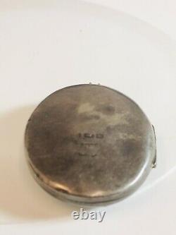 Large Victorian English Sterling Silver Photo Locket Pendant Japanese Influence